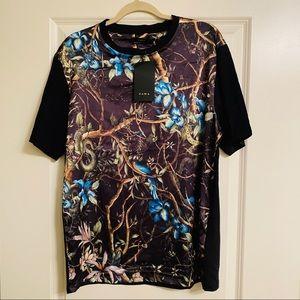 Zara short sleeve satin graphic print design top